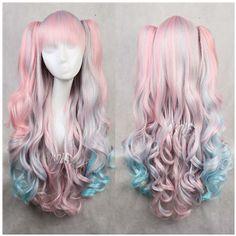 80 cm pink mix blue long wavy japanese  harajuku LOLITA anime wigs hair  Ponyappendage hair extension  anime Cosplay wigs