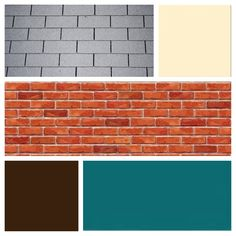 exterior color scheme for red brick and grey roof teal door cream siding