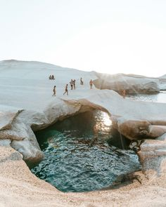 Sarakiniko Beach at Sunset in Milos, Greek Islands via Find U . - Sarakiniko Beach at Sunset in Milos, Greek Islands via Find Us Lost Sarakiniko Beach, Places To Travel, Places To Visit, Destination Voyage, Europe Destinations, Holiday Destinations, Holiday Places, Blog Voyage, Travel Aesthetic