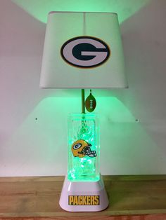 Green Bay Packers, NFL, Packers Lamp, NFL, lamps, glass block, man cave, kids night light, sports light, NFL Lamps by CaliradoArt on Etsy https://www.etsy.com/listing/504550294/green-bay-packers-nfl-packers-lamp-nfl