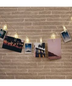With this neat LED string light set you can have 16 of your favourite snaps to be uniquely presented on any wall and have the attention drawn in with the clips. Led Garland, Cadeau Design, Luz Led, Led String Lights, Dream Bedroom, Home Gifts, Photos, Pictures, Bedroom Decor