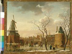 Isaäk Ouwater, Gezicht op de Catharijnebrug te Haarlem, 1775-1790. (eigen collectie) #haarlem # art #painting