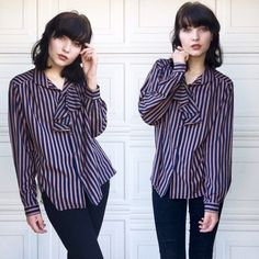 """Pins and Needles Blouse This striped Pins and Needles blouse exudes an air of carnival rock whimsy with plum buttons lining the front and a tousled collar for added charisma. In good, used condition.                                                                                                     ※ length: 25"""" waist: 24"""" Urban Outfitters Tops Blouses"""
