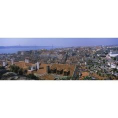 High angle view of a city viewed from a castle Castelo De Sao Jorge Lisbon Portugal Canvas Art - Panoramic Images (18 x 7)