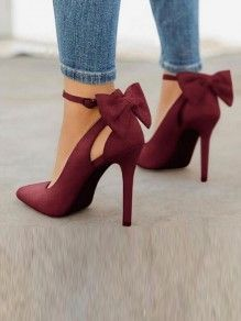 6e7dd450ded37 Wine Red Point Toe Stiletto Bow Fashion High-Heeled Shoes Source by