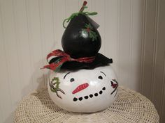 Snow man birdhouse gourd