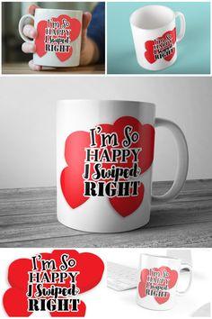 I'm So Happy I Swiped Right Tinder Mug Valentine's Gift  #swipedright #tindermug #valentinesgift #prandski