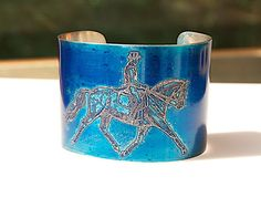 Dressage Rider HORSE Bracelet Etched Pewter Cuff 2 wide, by Joann Hayssen Designs.  25% of the purchase price will be donated to Rosemary Farm horse sanctuary through the end of December! https://www.etsy.com/listing/196405307/horse-bracelet-etched-pewter-cuff-2-wide?ref=shop_home_active_1