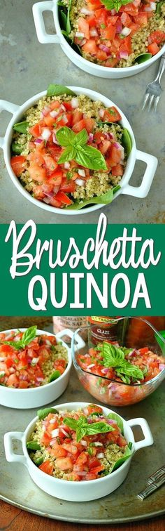Bruschetta Quinoa - all the flavor of fresh bruschetta in a healthy gluten-free salad! This is SO GOOD!