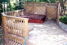 pics of wooden decks with privacy | Spa deck with privacy wall and benches - Pool and Spa Decks Photo ...