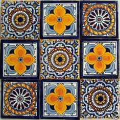 Hey, I found this really awesome Etsy listing at https://www.etsy.com/listing/127143973/9-hand-painted-talavera-mexican-tiles-4