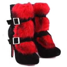 Christian Louboutin Toundra Fur Suede Ankle Boots BlackRed - $133.87