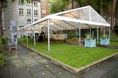 With a simple marquee covering for wet weather