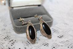 Art Deco Onyx Marcasite Sterling Silver Earrings Vintage Art Deco Estate Earrings Pierced Dangle Earrings by TreasuresFromUs on Etsy