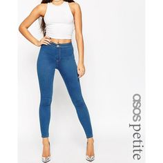 ASOS PETITE Rivington High Waisted Denim Jeggings in Daisy Bright Blue (958.900 VND) ❤ liked on Polyvore featuring pants, leggings, blue, petite, high-waisted jeggings, denim leggings, white denim leggings, blue leggings and bright blue leggings