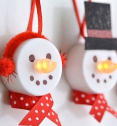 DIY snowman led tea light Christmas ornaments // Hóemberes karácsonyfadíszek ledes teamécsesből // Mindy - craft tutorial collection // #crafts #DIY #craftTutorial #tutorial #ChristmasCrafts #Christmas