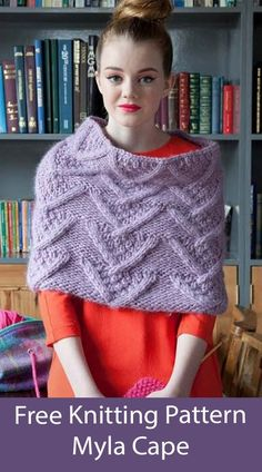 Free Poncho Knitting Pattern Myla Cape - Cropped poncho or shoulder cozy with chevron texture pattern. Designed by Debbie Bliss. Super Bulky weight yarn.