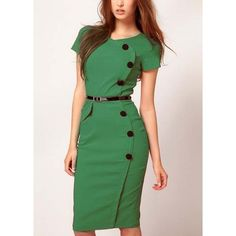 Hot Sale Button Decoration Short Sleeve Sheath Green Dress ($23) ❤ liked on Polyvore
