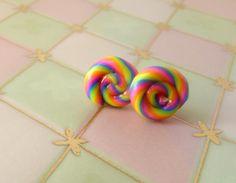 Fluorescent Rainbow Lollipop Earrings  Polymer by TheLollipopStop, $14.00