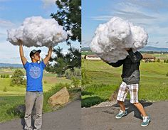 A few years ago, I had great fun creating some great big clouds to be used at the entrance to The Farm Chicks Show. But before we got them to the show, we had fun with them at home. The boys thought they made cool photo ops.