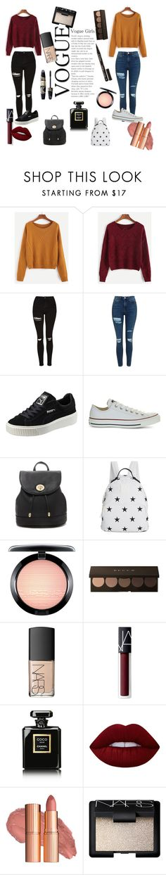 """""""Vogue"""" by dimy-style ❤ liked on Polyvore featuring Topshop, Puma, Converse, Forever 21, Tommy Hilfiger, MAC Cosmetics, Max Factor, NARS Cosmetics, Chanel and Lime Crime"""