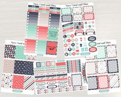 Pinning for later! These stickers are perfect. Available at Crafted By Corley on Etsy. Navy Coral and Blue Weekly Planner Kit - Weekly Stickers Planner Stickers Weekly View Planner for use with ERIN CONDREN LifePlanners by CraftedByCorley