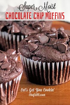 Search no further, for you have just uncovered THE BEST chocolate muffin recipe! These Moist Chocolate Chip Muffins are all that one longs for in a muffin – super chocolatey, dense, and moist. I've tried lots of… Continue Reading → Simple Muffin Recipe, Healthy Muffin Recipes, Costco Muffin Recipe, Muffin Recipies, Best Muffin Recipe, Baking Recipes, Cookie Recipes, Dessert Recipes, Easy Recipes