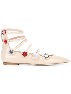 Shoppen Fendi Ballerinas mit Blumenapplikationen.