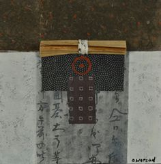 """Donna Watson collage - Kanji 1 by donnawatsonart on Etsy """"hand painted (acrylic) rice papers, found papers, and some fiber bundled and bound with rice paper ... 8""""x8"""" on a wooden support... part of my series on Kanji... (a) Japanese writing using characters written in a vertical format."""""""