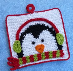 Winter Penguin Potholder CROCHET PATTERN. $2.50, via Etsy.