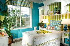 Blue Green White Bedroom .. our walls are this color in our bedroom so this is a good inspiration of colors and ideas