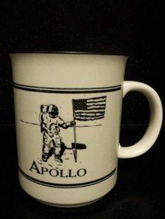 NASA Apollo Space Program Coffee Cup Astronaut Moon Walking American Flag RARE in Collectibles | eBay