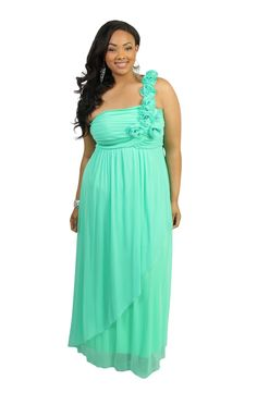 plus size flower accent one shoulder asymmetrical skirt #prom #dress  love this color