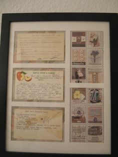 Old recipes framed with scrapbook paper  Omigosh...I have some old family recipes on those same apple recipe cards - truly a classic!