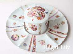 ポーセラーツ お重と扇皿(Nest of boxes and Plates) Pots, China Painting, Tea Cups, Traditional, Tableware, Glass, Porcelain, Paintings, Plate
