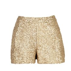 Gold Sequin Shorts With Pockets ($40) ❤ liked on Polyvore