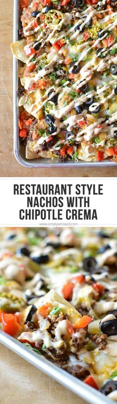 Restaurant Style Nachos with Chipotle Crema | simplywhisked.com