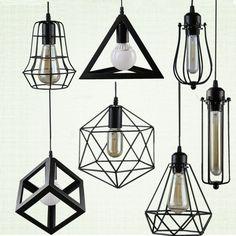 Ретро внутреннего освещения Винтаж подвеска светодиодные фонари 24 видов железной клетке абажур склад стиле светильник