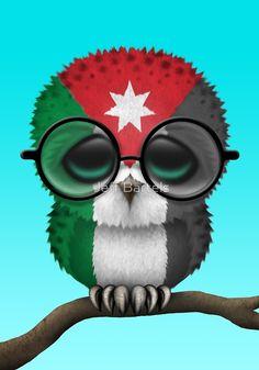 Nerdy Jordanian Baby Owl on a Branch by Jeff Bartels