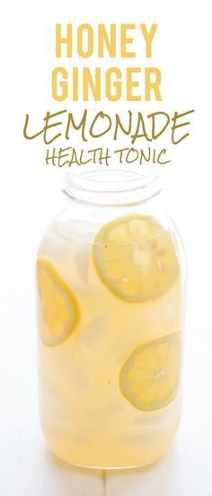 Honey Ginger Lemonade Health Tonic: So, what is a honey ginger lemonade health tonic? Well, its a lightly-sweetened drink brewed from fresh ginger and lemon. Its tasty, refreshing, and my absolute favorite beverage to sip on when Im fighting off a cold  #health  #health