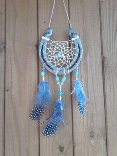 Glücksfänger - Traumfänger aus Hufeisen in Blau, individuelles Geburtstagsgeschenk für ein Mädchen