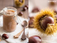 chestnuts with shell or peeled chestnuts water brown sugar Mark of 2 vanilla pods 1 tsp cinnamon Maronencreme / Kastanienmarmelade (mit Thermomix-Variante) Chutney, Brown Sugar, Nutella, A Food, Creme, Mango, Coconut, Homemade, Snacks