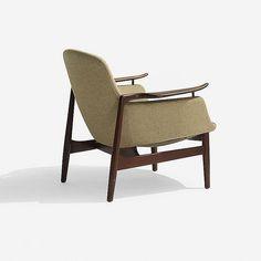 Finn Juhl lounge chair, model NV-53   Niels Vodder   Denmark, 1953   teak, brass, upholstery   28.5 w x 31 d x 29 h inches
