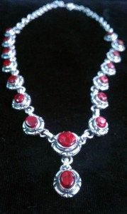 Taxco Mexican Sterling Silver Vintage Red Coral Necklace.