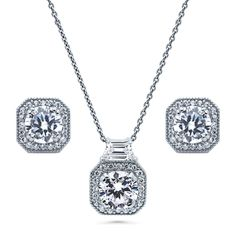 Rhodium Plated Sterling Silver Round Cubic Zirconia CZ Art Deco Halo Bridal Bridesmaid Necklace and Earrings Set -- Learn more by visiting the image link. (As an Amazon Associate I earn from qualifying purchases) Stone Earrings, Stone Necklace, Necklace Set, Pendant Necklace, Art Deco Jewelry, Jewelry Sets, Silver Rounds, Sterling Silver Pendants, Earring Set