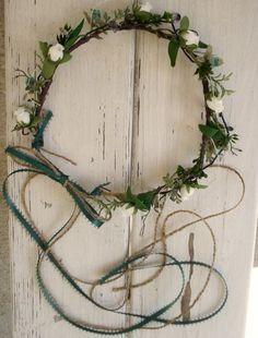 Teal Bohemian Hair Flowers Head Wreath Rustic Celtic headress with ribbons, $39