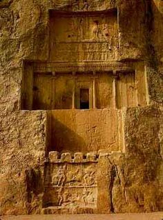 At some 13 km northwest of Persepolis are the Achaemenian royal tombs. There rises a perpendicular wall of rock in which four similar tombs are cut