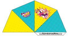 Cone Guloseimas 4 lados Barbie Super Princesa--- http://fazendoanossafesta.com.br/2015/07/barbie-super-princesa-kit-festa-infantil-gratis.html/