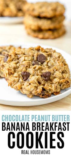 Chocolate Peanut Butter Banana Breakfast Cookies on a plate with a stack of cookies in the background