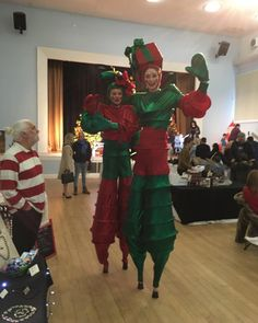 Entertainment laid on today! Santa and stilt walking crackers...
